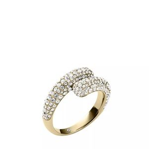 Michael kors gold crystal bypass ring size 7